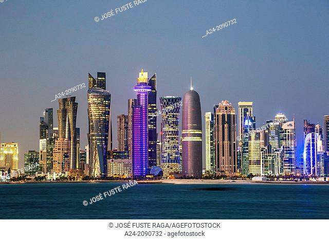 Qatar , Doha City, The Corniche , West Bay Skyline at sunset