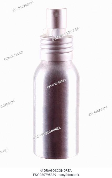 Deodorant aluminium bottle isolated over white background