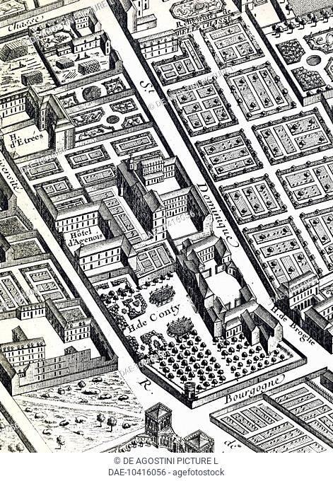 Affair of the Poisons, detail from the map of Paris called Plan Turgot (first half of 18th century) showing Rue St Dominique