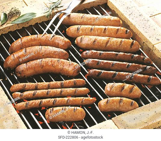 Various sausages on the grill