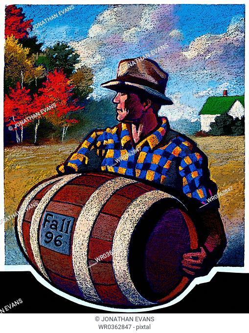 Man with Wine Barrel