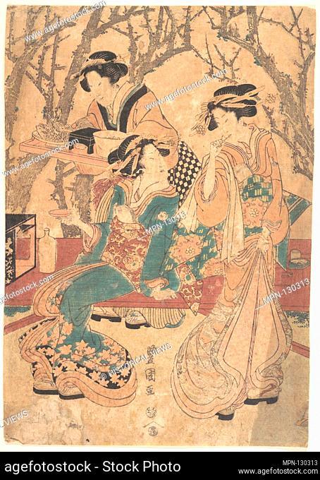 Three Women Dining Before a Group of Trees. Artist: Utagawa Toyokuni I (Japanese, 1769-1825); Period: Edo period (1615-1868); Culture: Japan; Medium: Polychrome...