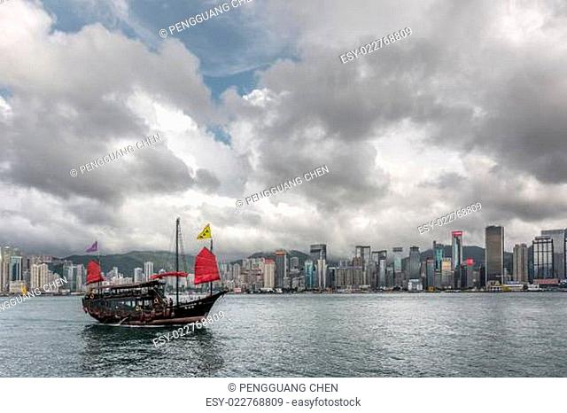 Famous Aqua Luna boat sail on the victoria harbour