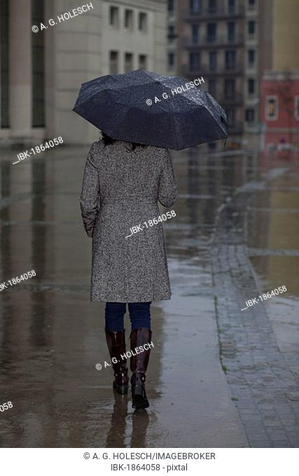 Woman holding an umbrella in the rain
