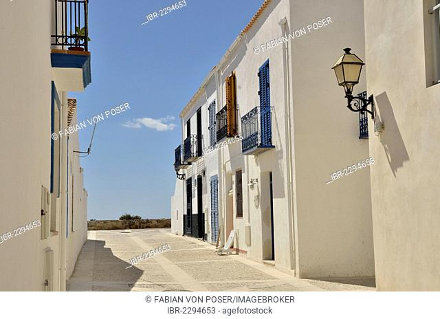 White facades in the old town of Tabarca, Island of Tabarca, Isla de Tabarca, Costa Blanca, Spain, Europe