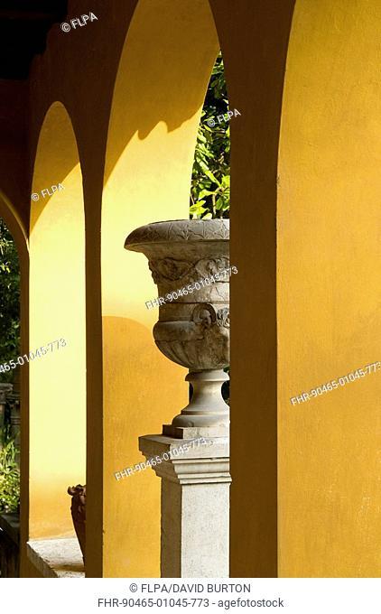 Garden with painted archway and urn, Vittoriale degli italiani, Gardone Riviera, Lake Garda, Lombardy, Italy