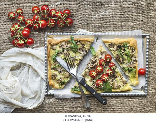 Ristic mushroom (fungi) square pizza with cherry tomatoes and arugula over a sackcloth background