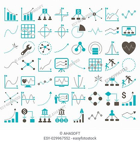 Business Charts With Rhombus Dots glyph icons. Style is bicolor grey and cyan flat symbols on a white background. 56 icons in the set