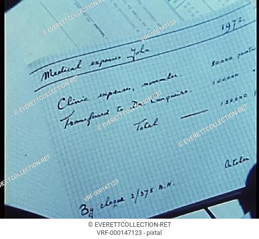 Close-up of hand turning pages of expense book