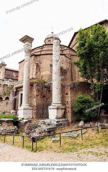 Temple of Romulus was dedicated by Emperor Maxentius to his son Valerius Romulus