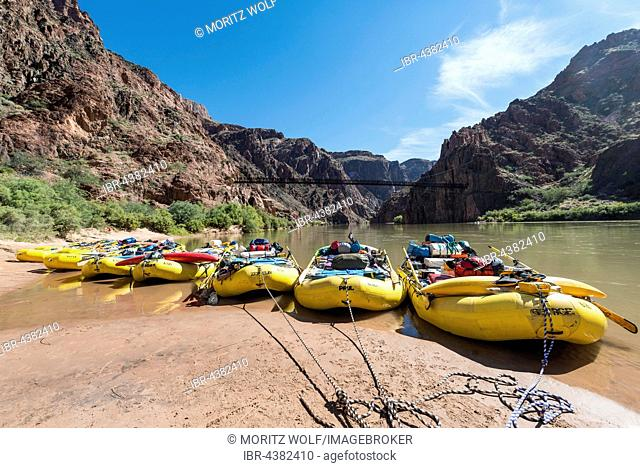 Rafts, rubber dinghies on banks of Colorado River, Rapid, Grand Canyon National Park, Arizona, USA