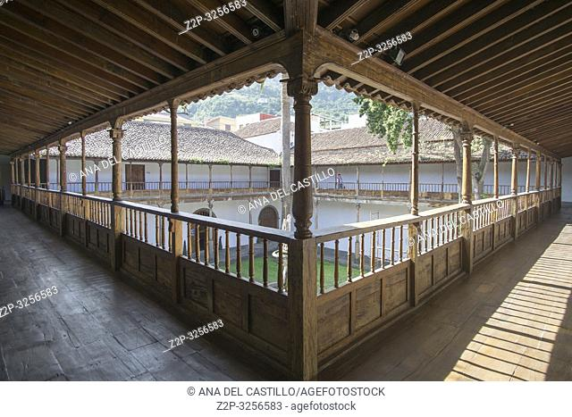 Icod de los Vinos in Tenerife Canary islands Spain on January 4, 2019: Cloister at San Francisco convent now the library