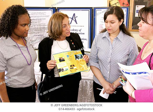 Booker T. Washington Senior High, Schools of Choice Open House, counselor, parent, student. Miami. Florida. USA