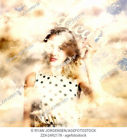 Magical surrealism photograph of a beautiful young girl holding the words DREAM while walking with her head in the clouds