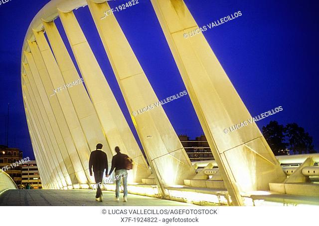 Pont de l'Exposició (aka 'La Peineta' or 'Alameda Bridge') by Santiago Calatrava, in Jardi del Turia gardens, Valencia, Spain