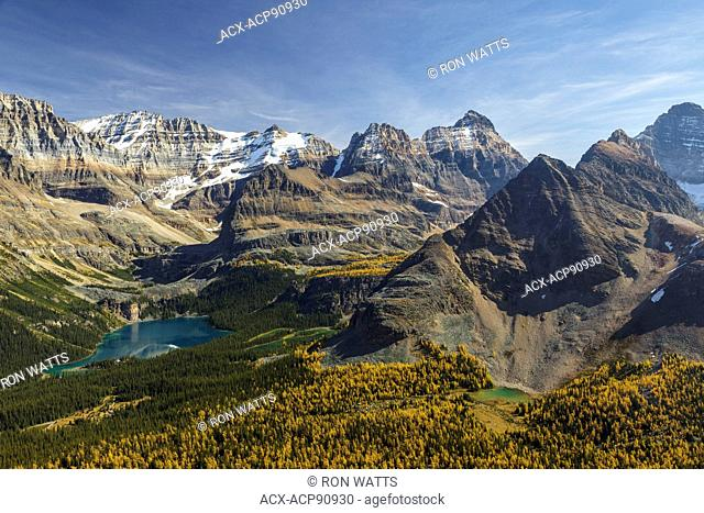 Lake O'Hara from the Odaray Highline trail in autumn, Yoho National Park, British Columbia, Canada