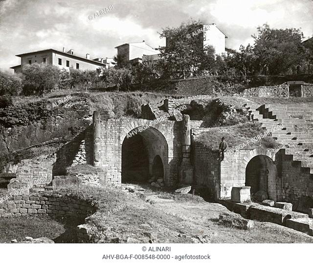 Remains of the Roman Theater. Fiesole (Florence) (100 BC- 99 AD), shot 1890 ca. by Brogi