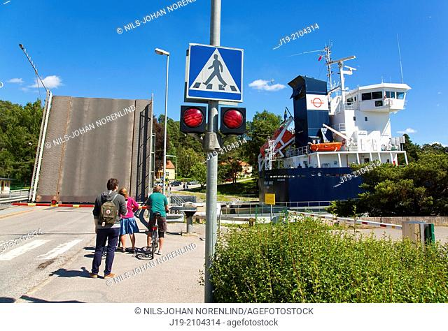Södertälje canal bridge opening ,Södermanland Sweden