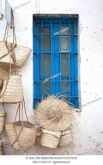 Tunisia, Jerba Island, Midoun, souvenir baskets