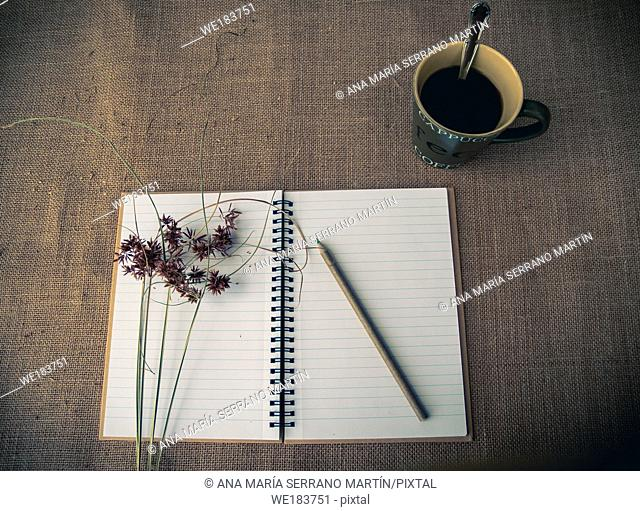 Vintage style. Organized desk with open notebook, a cup of coffee, dry grass, pencils and burlap background