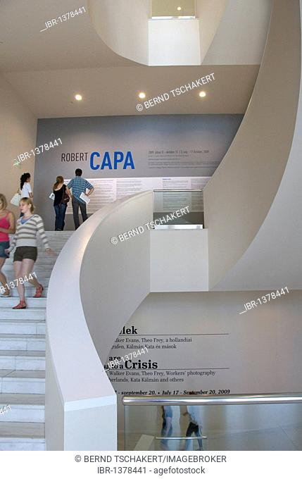 People on stairs, Robert Capa exhibition, Ludwig Museum, Museum of Contemporary Art, Budapest, Hungary, Europe