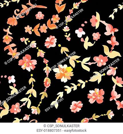 Watercolor paisley seamless pattern