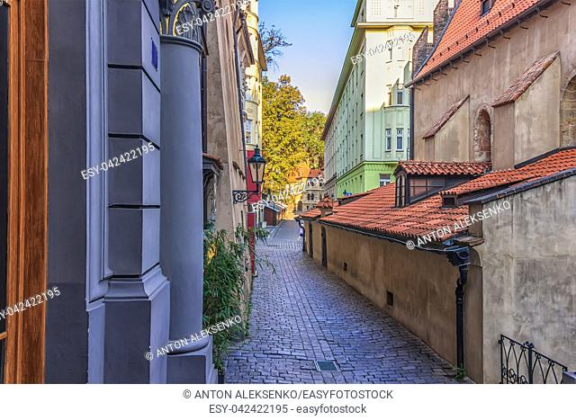 Cervena street in Jewish ghetto of Prague