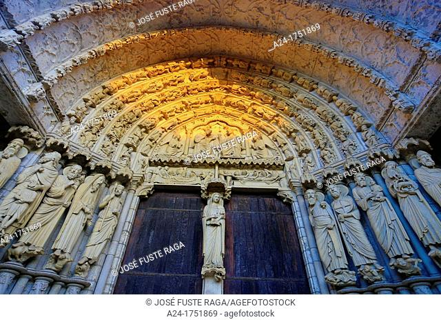 France , Chartres City , Chartres cathedral W H , North Gate