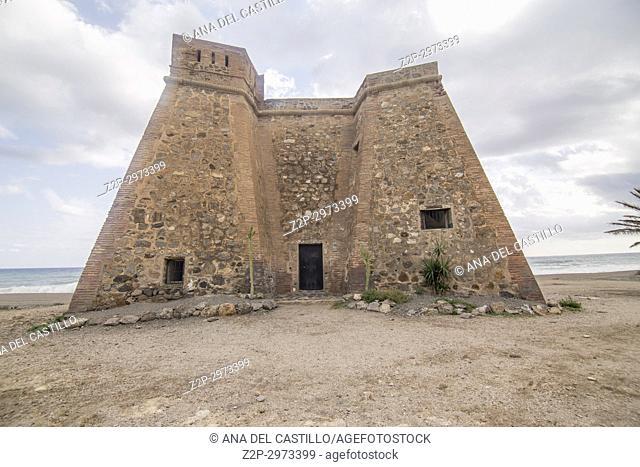 Macenas castle in Cabo de Gata nature reserve, Almeria, Andalusia, Spain