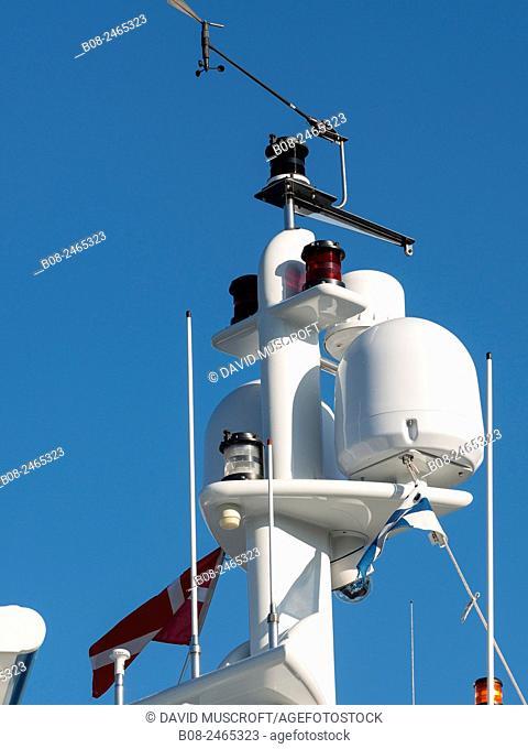 detail of radar and communications equipment of a modern yacht in the harbour,Copenhagen,Denmark