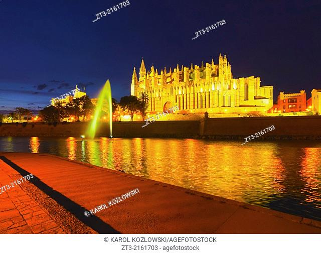 Night view of Cathedral in Palma de Mallorca, Balearic Islands, Spain