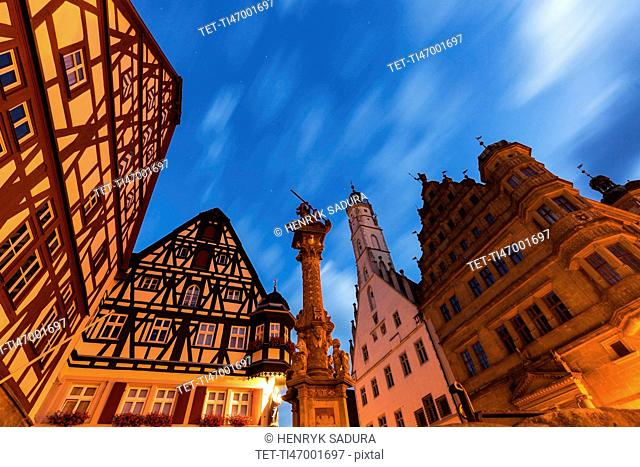 Germany, Bavaria, Rothenburg, Low angle view of half-timbered houses at Market Square