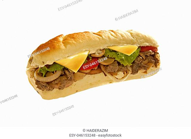 Mighty huge sub sandwich hoagie filled with veggies and meat