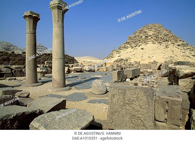 Mortuary temple and pyramid Sahura, Abusir Necropolis, Egypt. Egyptian civilisation, Old Kingdom, Dynasty V