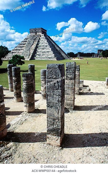 Mexico, Yucatan Peninsula at Chichen Itza, pyramid and columns, Temple of the Warriors