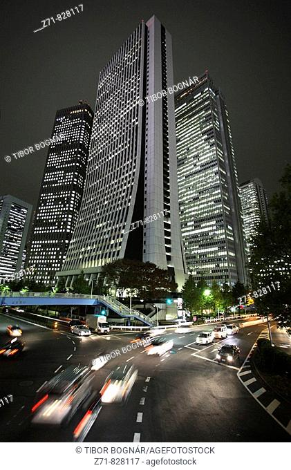 Japan, Tokyo, Shinjuku, skyscrapers, night traffic