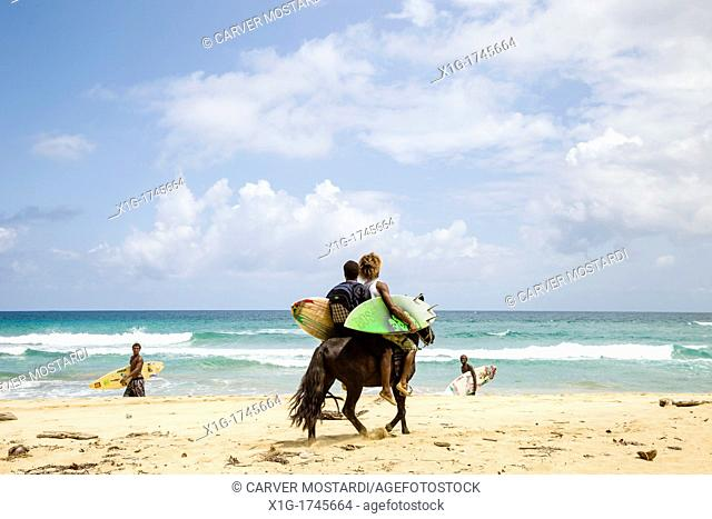Pair of surfers on a horse at Wizard Beach First Beach on Isla Bastimentos, Bocas del Toro, Panama