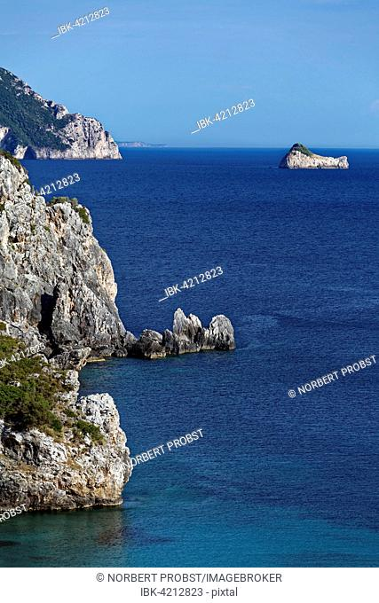 Cliffs in front of Paleokastrista with petrified ship of Odysseus, island Corfu, Ionian Islands, Greece