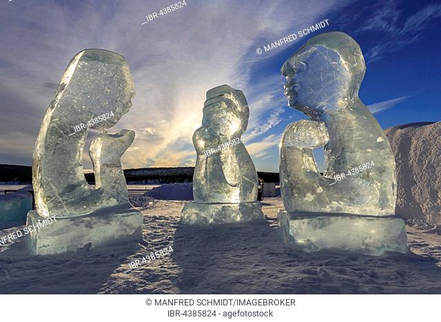 Ice sculptures in front of Icehotel, Jukkasjarvi, Norrbotten County, Sweden