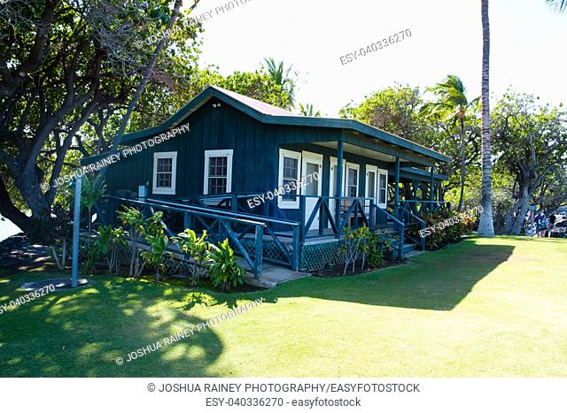 Private cottage along the shore of the fishpond at Mauna Lani Bay on the Big Island of Hawaii