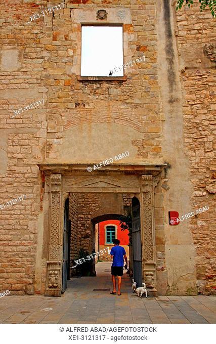access door, civic center, Convent de Sant Agusti Vell, Barcelona, Catalonia, Spain