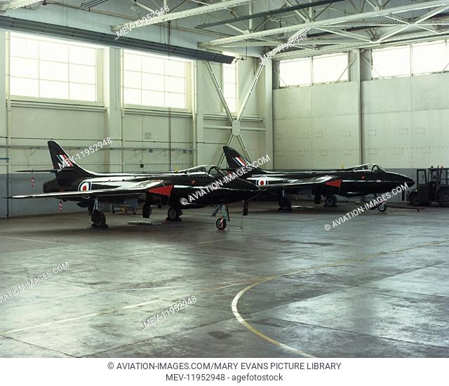 A Pair of RAF Hawker Hunters of Trade Management Training Tmt Parked in a Hangar