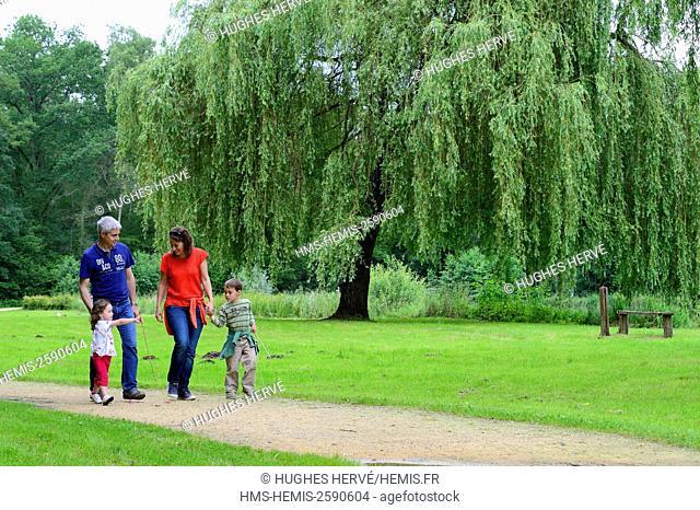 France, Aisne, Bouconville-Vauclair, Vauclair abbey, family picnic, walk by the lake