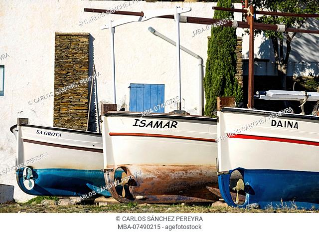 Fishing boats in the town of Portlligat, where the surrealist painter Salvador Dali lived