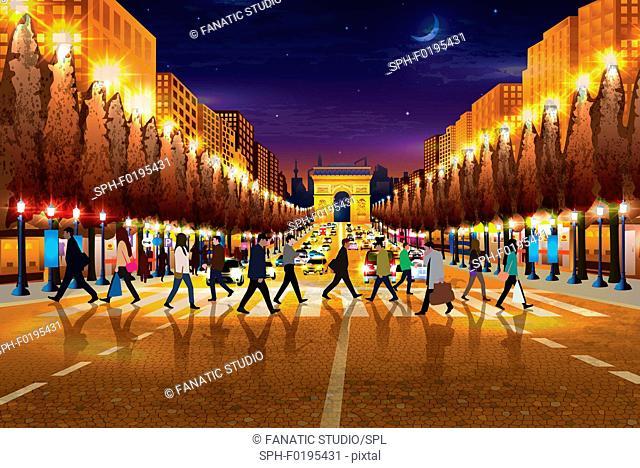 Illustration of people walking in Paris, France