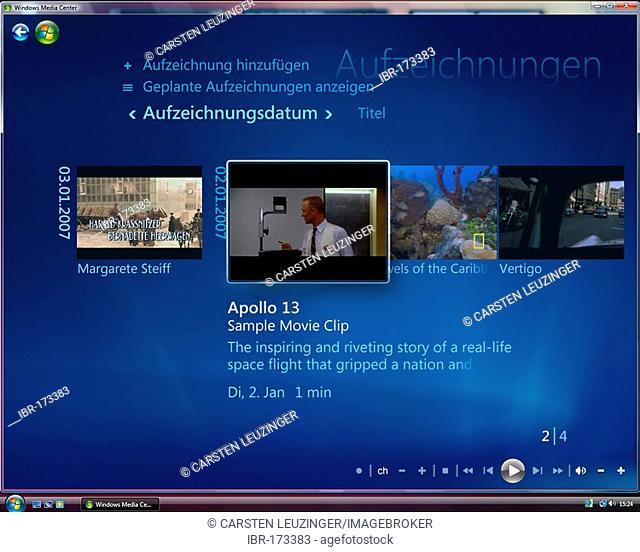 Microsoft Windows Vista, german version, Media Center User Interface, Recorded TV Area, screenshot