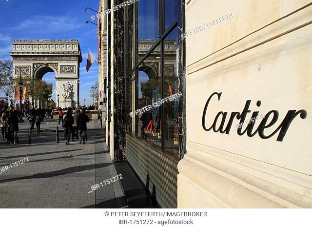 Reflection of the Arc de Triomphe, Triumphal Arch, in the window of a Cartier store on the Champs Elysees, Paris, France, Europe