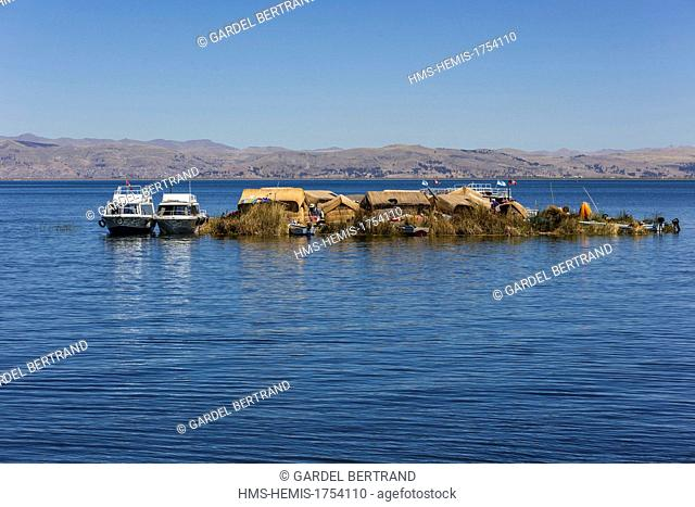 Peru, Puno Province, Lake Titicaca, the descendants of Uros Indians live on floating reed islands and live mainly from tourism