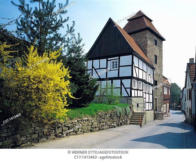 Germany, Menden Sauerland, Hoenne, Hoenne valley, Ruhr, Sauerland, Westphalia, North Rhine-Westphalia, NRW, town fortification, Teufelsturm, Devil Tower