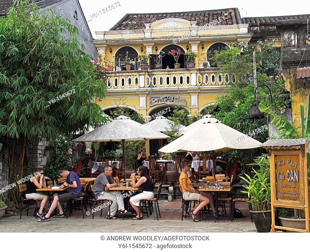 Outdoor dining is a popular in Hoi An colonial historic town mid Vietnam